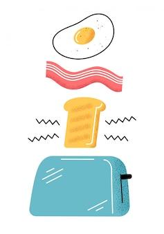 Colazione. buongiorno. uova, pancetta, pane tostato.