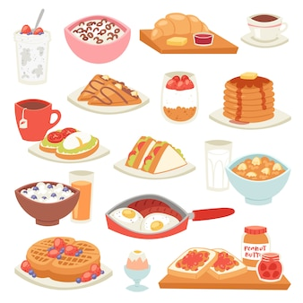 Colazione caffè e uova fritte con dessert dolce al mattino illustrazione set di porridge di cibo sano o cereali e cornetto su coffeebreak isolato su sfondo bianco