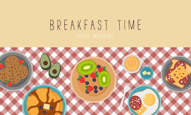 Colazione con pancetta e uova prezzemolo, toast con salsiccia e formaggio. concetto di colazione con cibo fresco, vista dall'alto. tempo del pasto. illustrazione