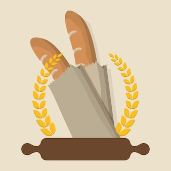 Colazione cottura rullo baguette distintivo alloro