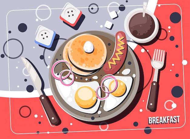 Colazione di vettore con cibi e bevande. cornice per la vista dall'alto di colazioni e brunch.