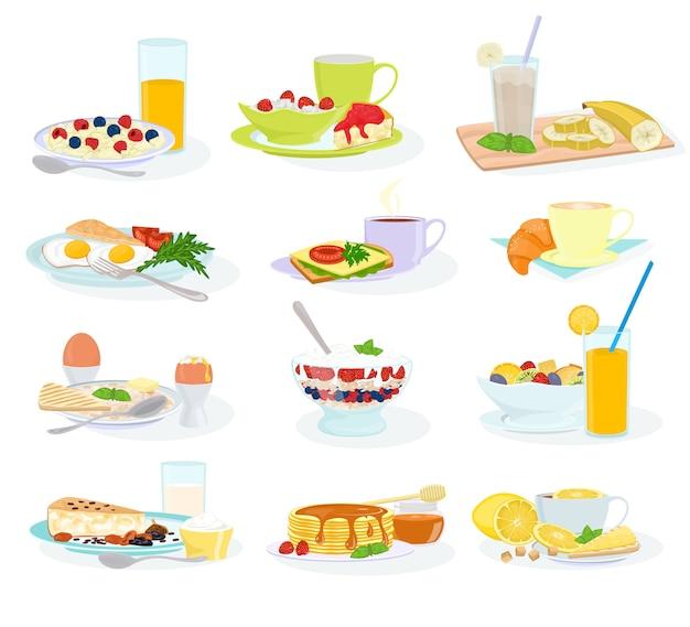 Colazione mattina cibo pasto sano uovo cereali torta e pancake con succo d'arancia e caffè illustrazione set di tavolo per la colazione nel ristorante dell'hotel isolato su sfondo bianco