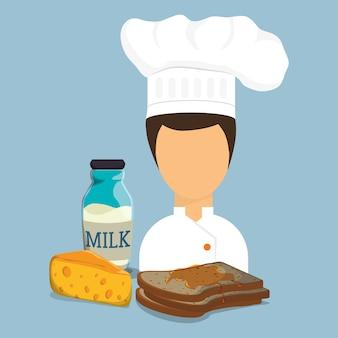 Colazione ragazza chef toast sciroppo formaggio bottiglia di latte