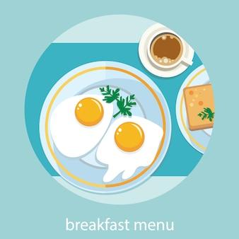 Colazione vista dall'alto. caffè, uova fritte, cialde. menu della colazione del mattino in stile cartone animato