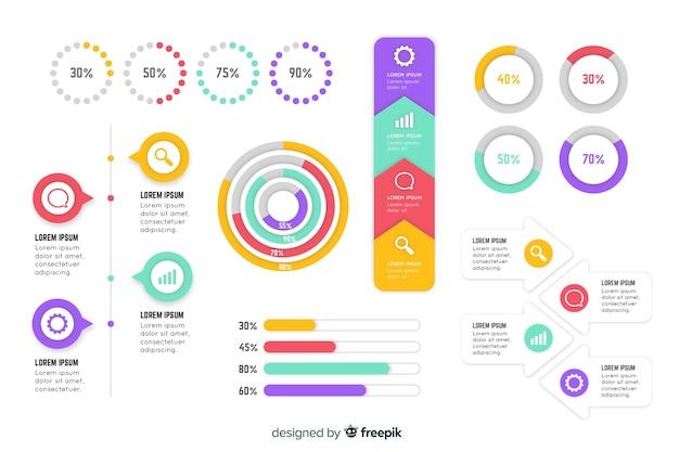 Colelction elemento piatto infografica
