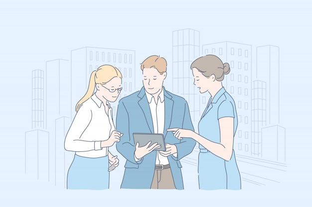 Collaborazione, lavoro di squadra, sviluppo, piano, concetto di business.