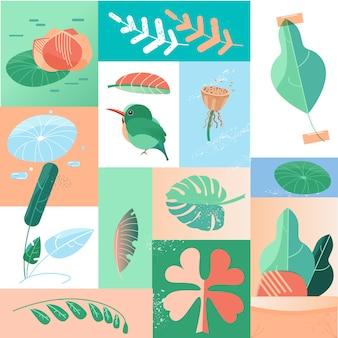 Collage delle icone di giorno tropicale di estate