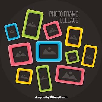 Collage di cornice foto colorata con design piatto