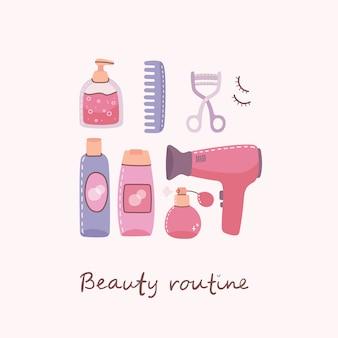 Collage di cosmetici e prodotti per la cura del corpo per la cura e il trucco del corpo.