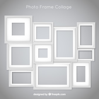 Collage di foto cornice con design piatto