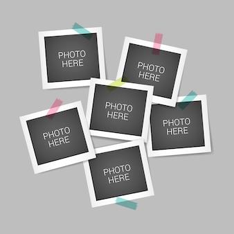 Collage di foto istantanee con design realistico