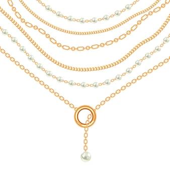 Collana metallica dorata con perle e catene