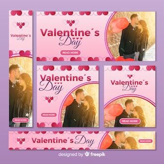 Collectio di banner web di san valentino