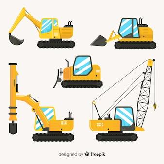Collectio di camion di costruzione piana