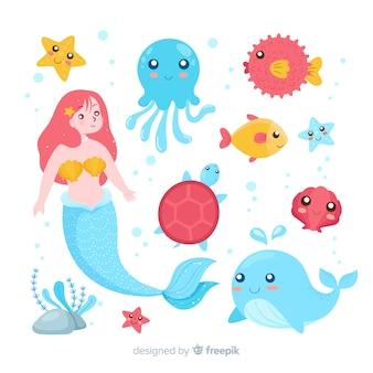 Collectio di carattere di vita marina