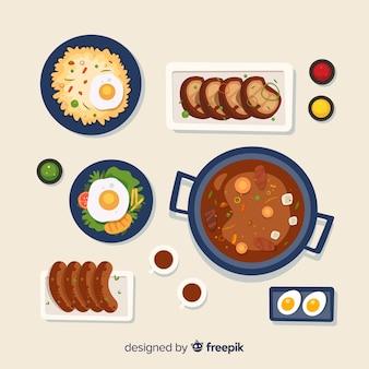 Collectio di cibo piatto