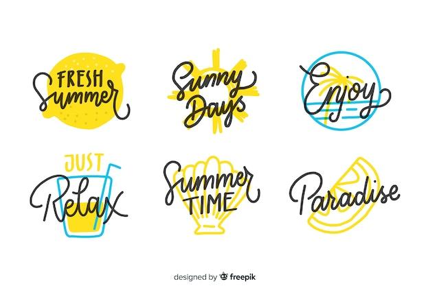 Collectio di distintivo estate disegnata a mano