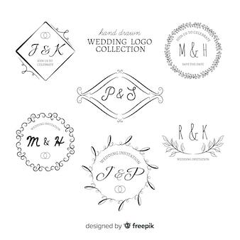 Collectio di nozze disegnato a mano logo