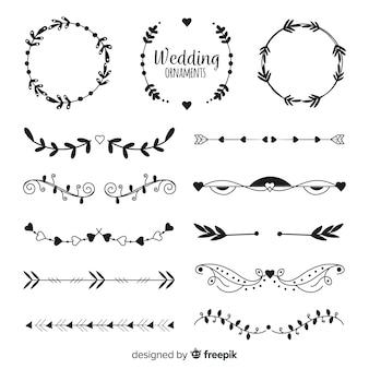 Collectio di ornamento di nozze disegnati a mano