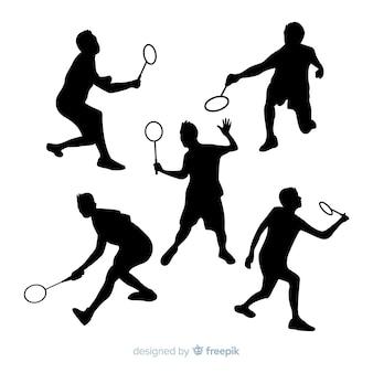 Collectio di sagoma giocatore di badminton