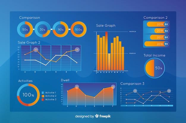 Collectio olografico di elemento di infographics di pendenza