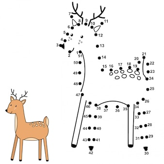 Collega i punti e disegna un simpatico cervo. gioco di numeri per bambini. illustrazione