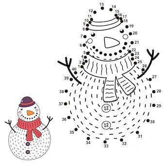Collega i punti e disegna un simpatico pupazzo di neve. gioco di numeri di natale per bambini. illustrazione