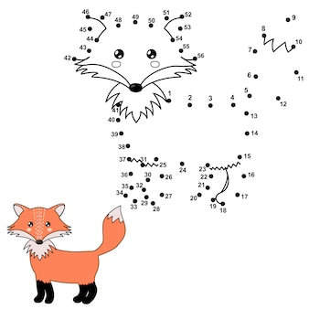 Collega i punti per disegnare una volpe carina e colorarla. numeri educativi e gioco da colorare per bambini. illustrazione
