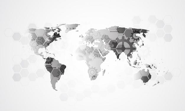 Collegamento aziendale alla rete globale, punto della mappa del mondo