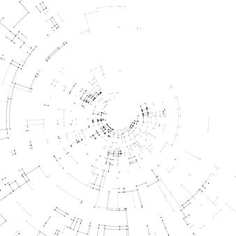 Collegamento di linee e punti su sfondo bianco.