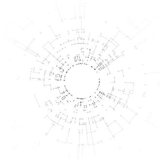 Collegamento di linee e punti su sfondo bianco
