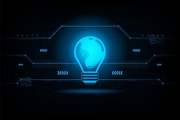 Collegamento futuristico della lampadina astratta