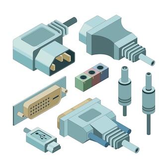 Collegare i connettori del computer. immagini isometriche di connessioni audio prese jack audio e prese elettriche disegnate a mano