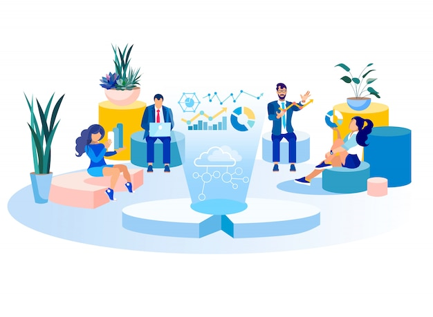 Colleghe che analizzano l'illustrazione creativa dell'ufficio di dati