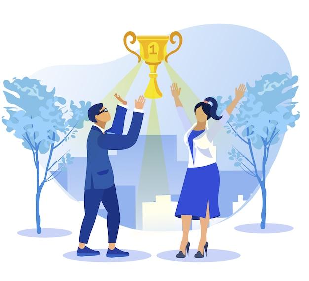 Colleghi che celebrano il miglior risultato e la coppa dei campioni
