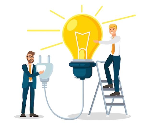 Colleghi che generano l'illustrazione di vettore di idea