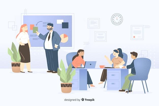 Colleghi che lavorano insieme illustrati