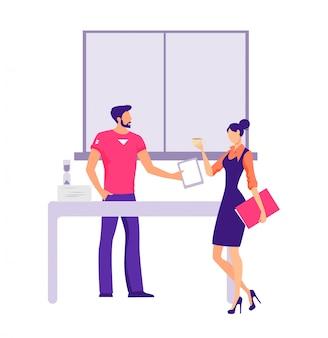 Colleghi del fumetto che lavorano facendo uso della compressa durante la pausa caffè all'illustrazione piana dell'ufficio
