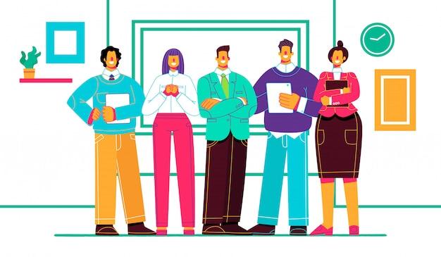 Colleghi di società. squadra di affari. gli impiegati stanno insieme sullo sfondo del posto di lavoro