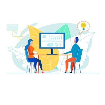 Colleghi di ufficio che sviluppano presentazione aziendale