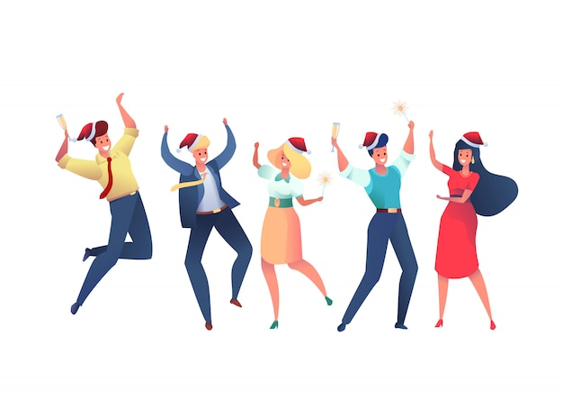 Colleghi di ufficio felici del fumetto che celebrano il natale che ballano insieme con le stelle filante. concetto di festa aziendale. lavoratori sorridenti a santa hat divertirsi tenendo bicchieri di champagne