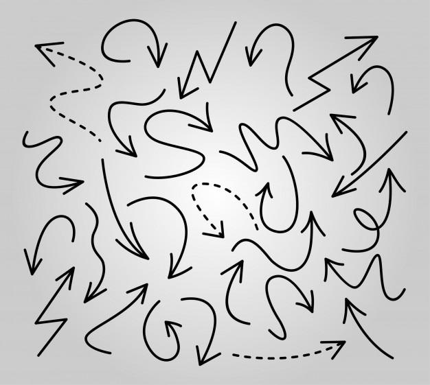Collezione alla moda di icone diverse freccia