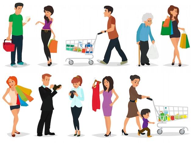 Collezione andare a fare shopping con le borse della spesa.