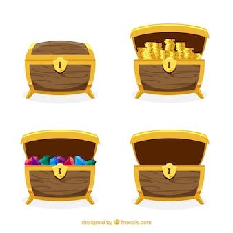 Collezione antica scatola del tesoro con design piatto