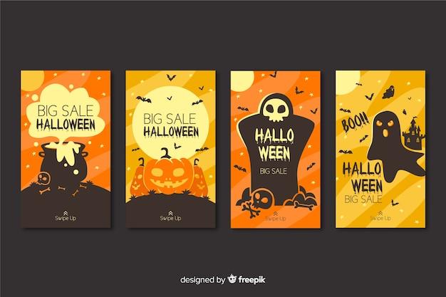 Collezione arancione di storie di intagram di halloween