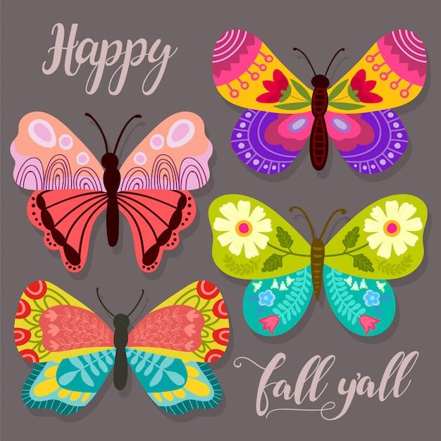 Collezione astratta con diverse farfalle