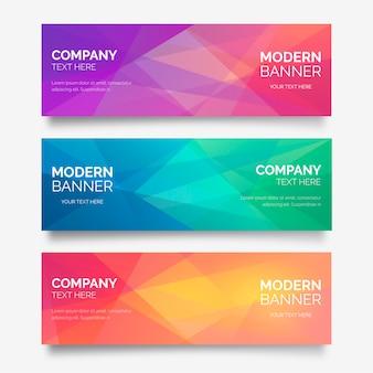 Collezione astratta di banner con forme poligonali