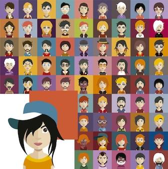 Collezione avatar di persone diverse