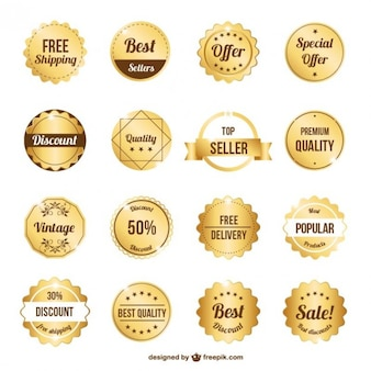 Collezione badge premium gold