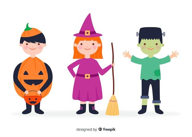 Collezione bambino halloween design piatto